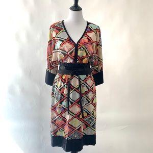 Trina Turk multicolor silk dress with obi sash